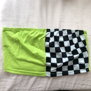 green and checkered tube top